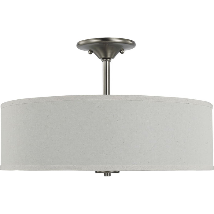 "Inspire Collection Brushed Nickel Three-Light 18"" Semi-Flush Mount"