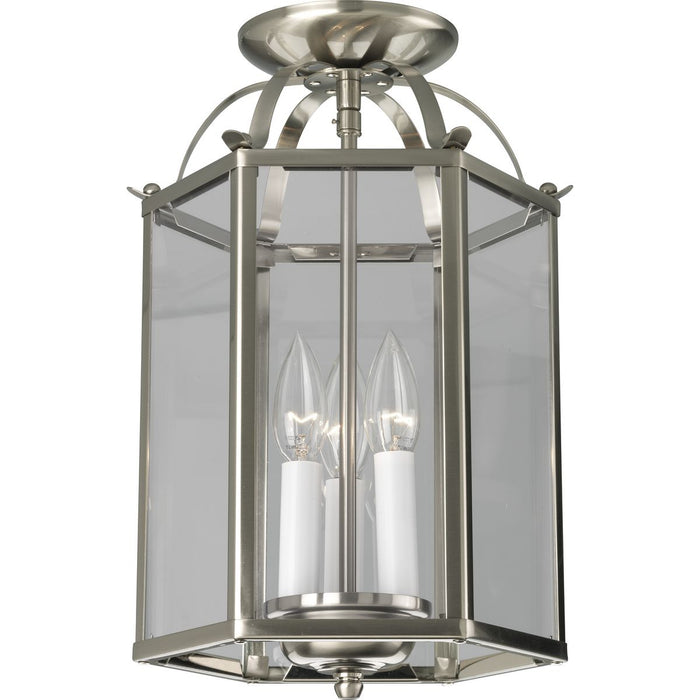 Flat Glass Three-Light Foyer Pendant