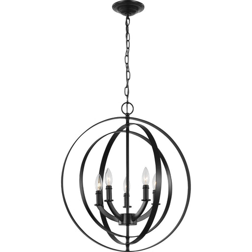 Equinox Collection Satin Brass Five-Light Sphere Pendant