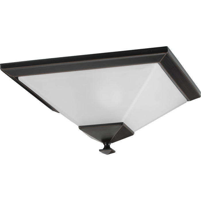 "Clifton Heights Collection Brushed Nickel Two-Light 15"" Flush Mount"