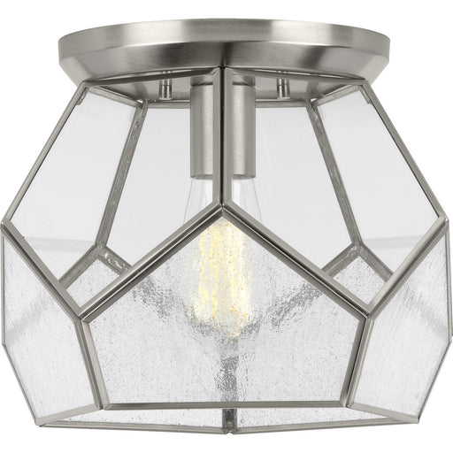 "Cinq Collection Brushed Nickel One-Light 12"" Flush Mount"