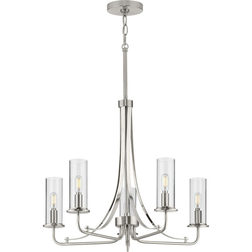 Riley Collection's Five-Light Brushed Nickel Chandelier
