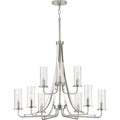 Riley Collection Brushed Nickel Nine-Light Chandelier