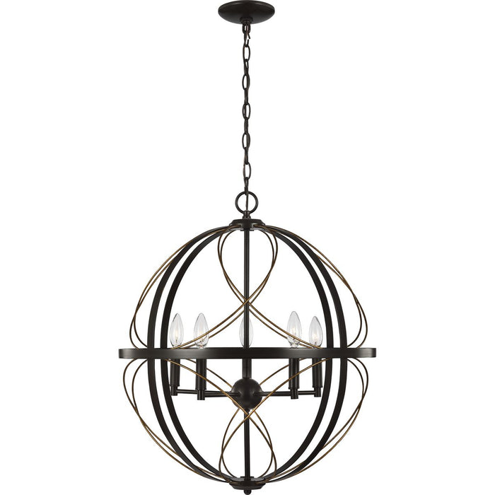 Brandywine Collection Antique Bronze Five-Light Pendant