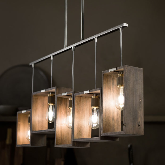 Industrial Frames(TM) 5 Light Linear Chandelier Classic Pewter