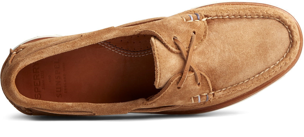 Men's Authentic Original Sunspel Boat Shoe Tan Suede