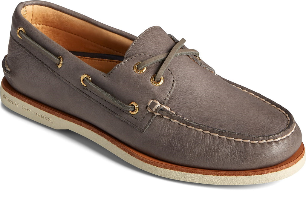 Men's Gold A/O 2-Eye Boat Shoe Lace Shoes Charcoal