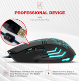 DL- MG501 6 Buttons Gaming Mouse USB 2400 DPI 7 Colors Backlight Ergonomic