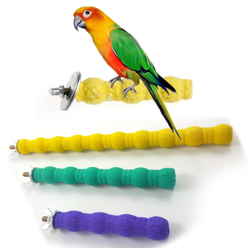 Bird Cage Perches Stand Platform Paw Grinding Bites Toys For Parrot Parakeet LD