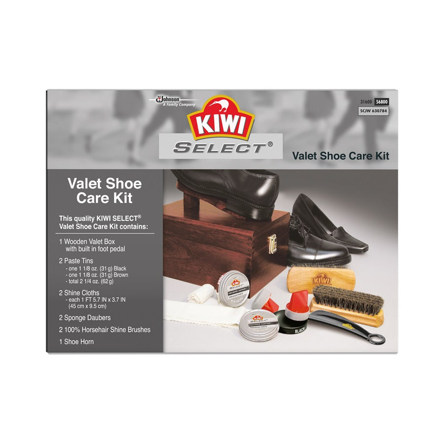 KIWI SELECT WOODEN VALET SHOE CARE KIT