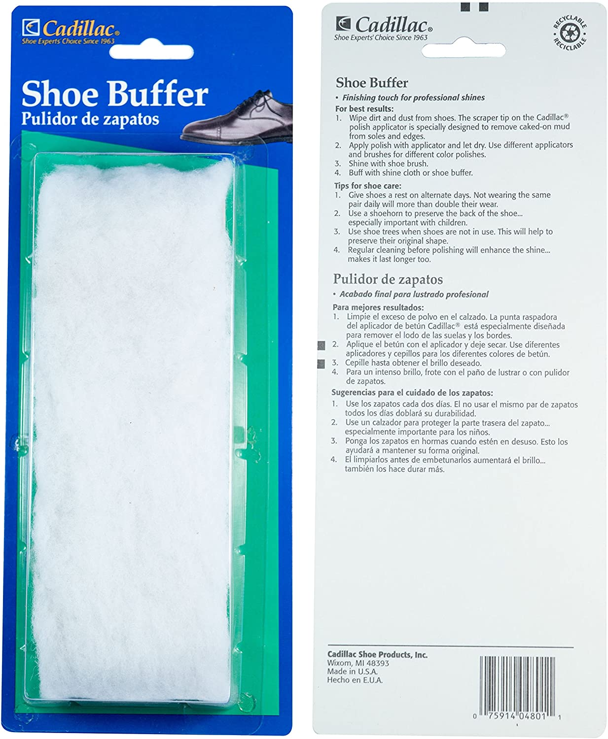 CADILLAC WOOD SHOE BUFFER BLISTER PACK