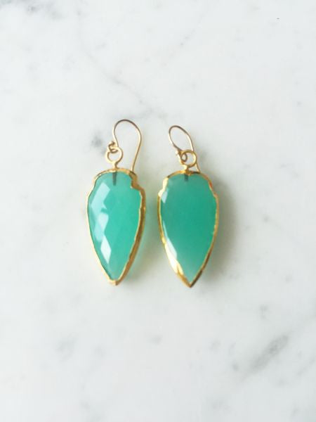 El Encanto Arrowhead Earrings Chalcedony
