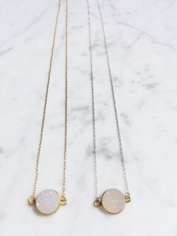 The Mrs. Parker Necklace in White Druzy