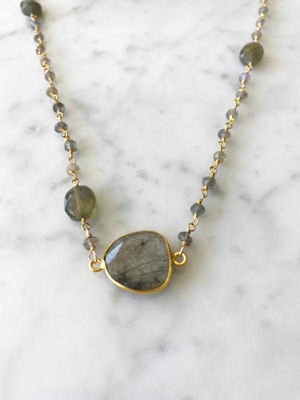Mrs. Parker Endless Summer Necklace Labradorite with Black Rutilated Quartz