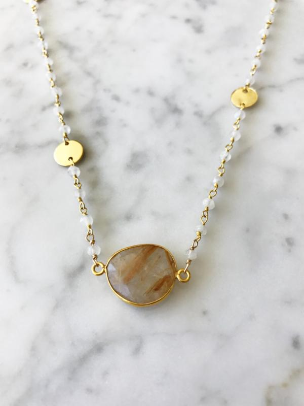 SALE Mrs. Parker Endless Summer Necklace Moonstone with Golden Rutilated Quartz