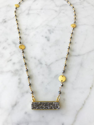 Boathouse Druzy Bar Necklace Polished Pyrite