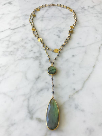 Diana Double Denmark Necklace Polished Pyrite and Labradorite Drop