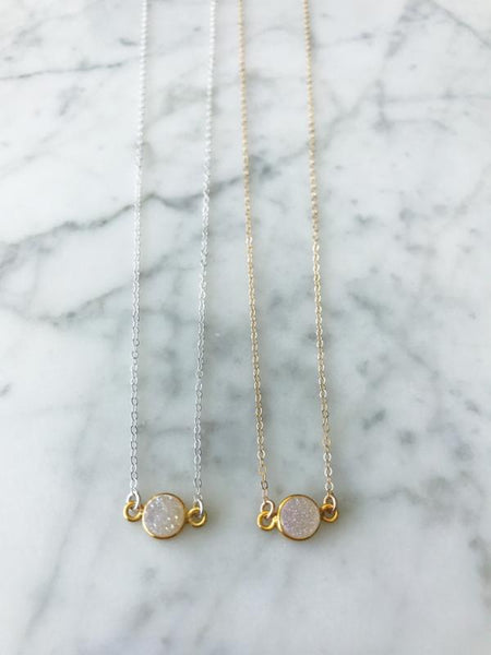 Mrs. Parker White Druzy Necklace