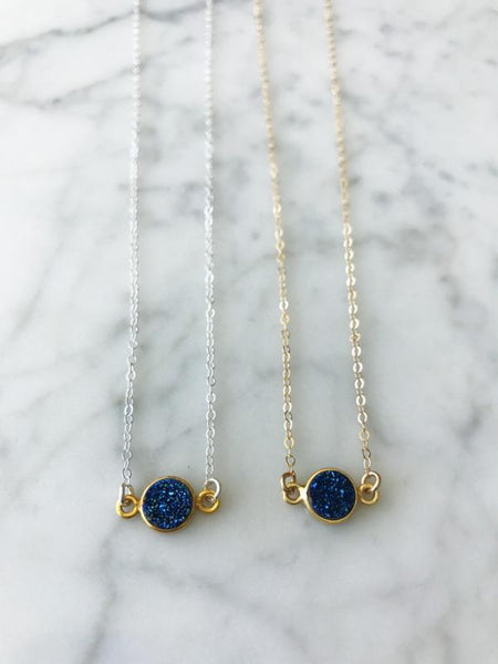 Mrs. Parker Blue Druzy Necklace