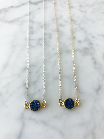 SALE Mrs. Parker Blue Druzy Necklace