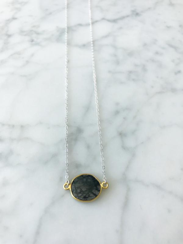 Mrs. Parker Necklace in Original Black Rutilated Quartz