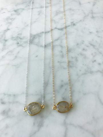 Mrs. Parker Necklace in Golden Rutilated Quartz