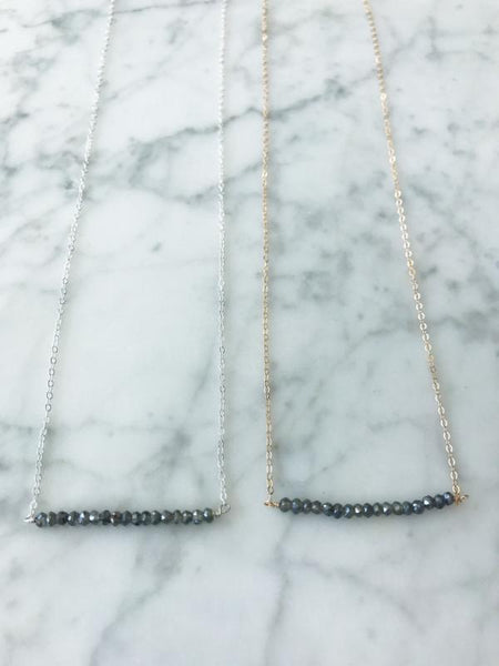 London Bar Gray Silverite Necklace