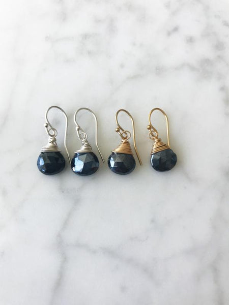 Jill Short Drop Earring in Black Spinel