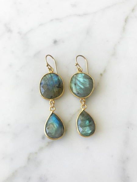 Rome Earrings Gold Labradorite