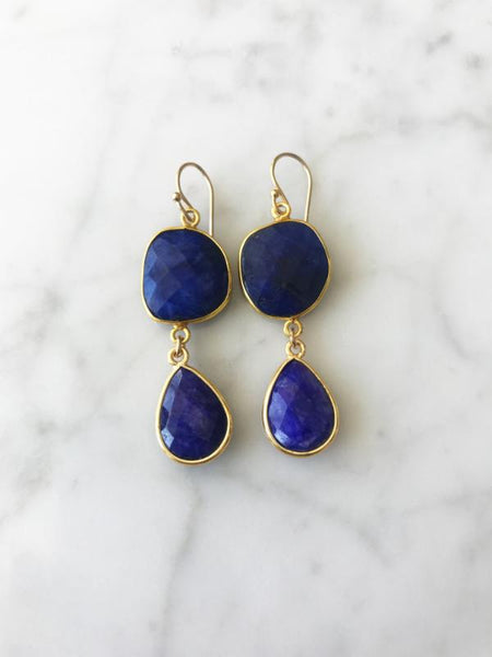 Rome Earrings Gold Sapphire