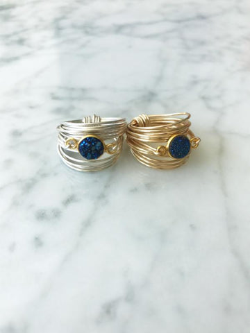The Torrey Ring in Blue Druzy
