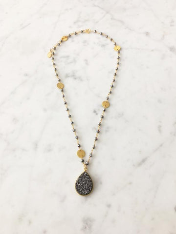 Druzy Drop Necklace Polished Pyrite