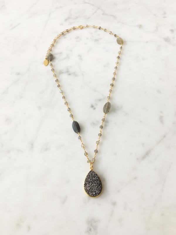 SALE Druzy Drop Necklace Labradorite