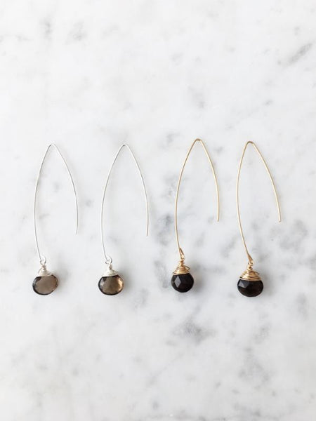 Jill Long Wire Drop Earrings in Smoky Quartz