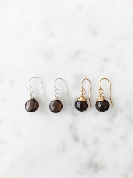 Jill Short Drop Earring in Smoky Quartz