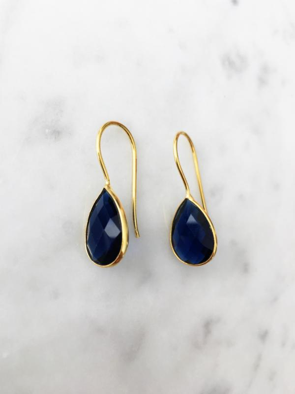 Hydro Lolite Drop Earrings Navy Blue