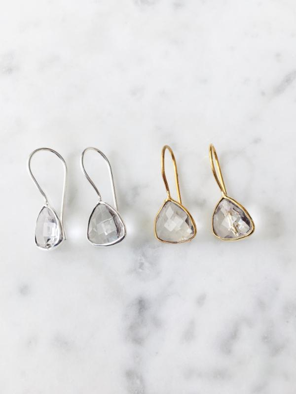 Clear Quartz Hex Drop Earrings