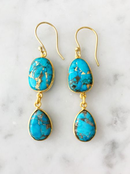 Rome Earrings Copper Turquoise