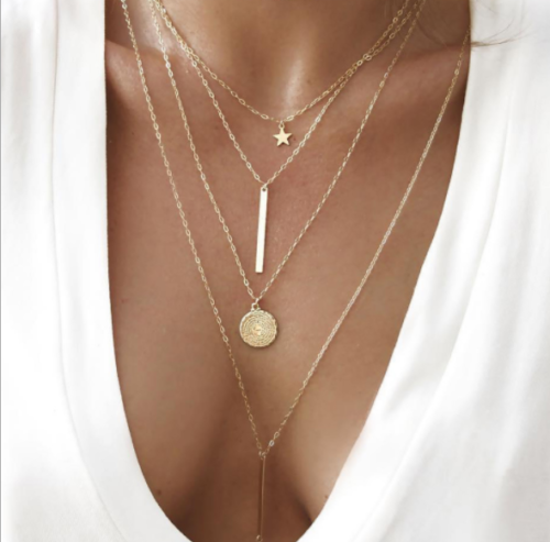 FINAL SALE 14k Gold-Plated Layered Pendant Necklace