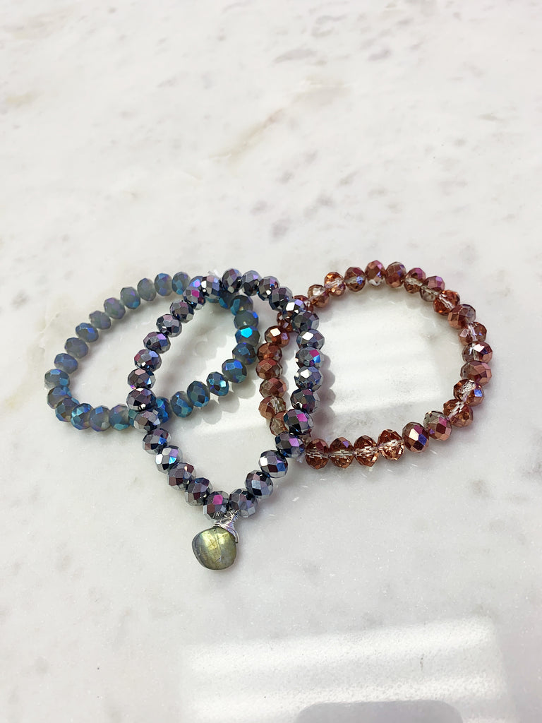 SALE (Set of 3) Stretch Wrap Bracelet Beige Rose Gold, Labradorite and Pyrite Crystal with Sterling Silver Wrapped Labradorite