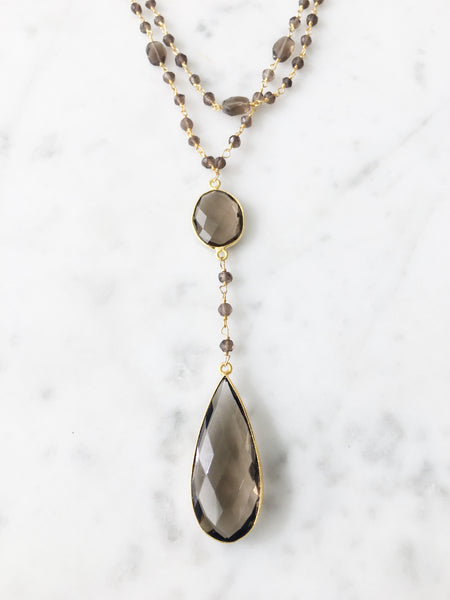 Diana Double Denmark Necklace Smoky Quartz with Smoky Quartz Drop