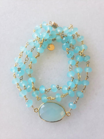 Hana Two in One Wrap Bracelet/Necklace with Chalcedony