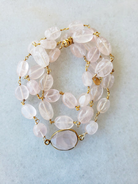 Hana Two in One Wrap Bracelet/Necklace with Rose Quartz
