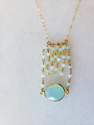 The Jessica Gold Necklace in Chalcedony