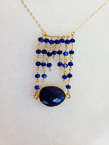 The Jessica Gold Necklace in Sapphire