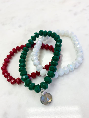 SALE (Set of 3) Christmas Stretch Wrap Bracelet White Jade Crystal, Emerald Green and Ruby Red with Sterling Silver Wrapped Labradorite