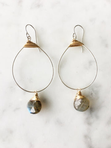 Labradorite Small Featherweight Earrings with Drop