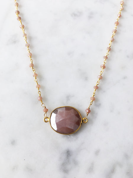 Mrs. Parker Endless Summer Necklace Peach Moonstone