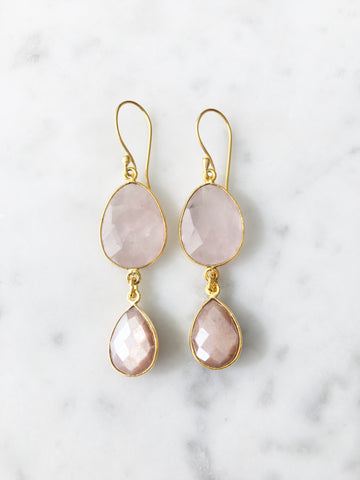 Rome Earrings Gold Peach Moonstone and Rose Quartz