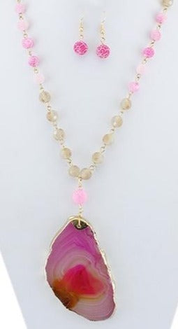 SALE Natural Cut Fuschia Beaded Stone Necklace with Matching Earrings